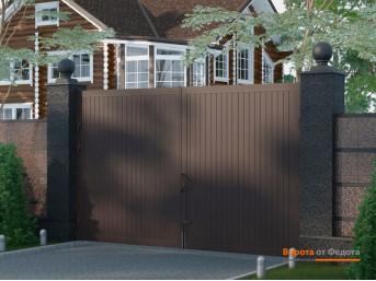 Распашные ворота в алюминиевой раме с заполнением сэндвич-панелями