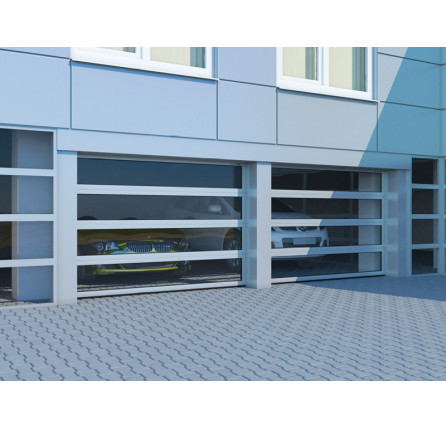 Промышленные секционные ворота из алюминиевых панорамных панелей с торсионным механизмом ISD02