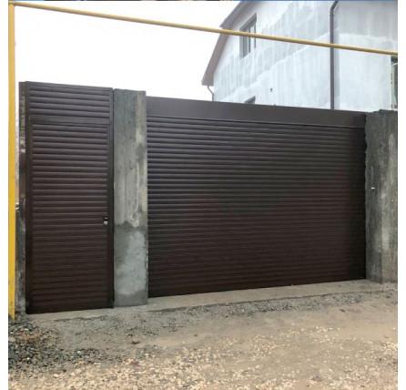 Роллетные автоматические ворота с калиткой 3600*2500